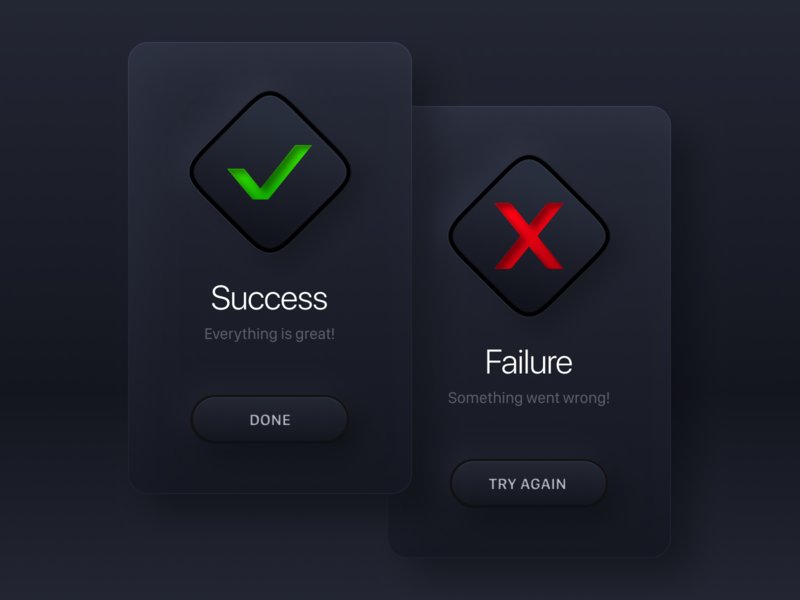 Daily UI #011 / Flash Message surface square effects failure success window skeuomorphism neomorphism darkmode dark popup modal alert ui buttons icon dailyui 011 dailui card button