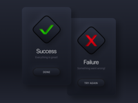 Daily UI #011 / Flash Message surface square effects failure success window skeuomorphism neomorphism darkmode dark popup modal alert ui buttons icon dailyui 011 dailui card button