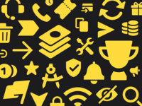 Icons coins promo finish flag hide wifi notification trash trophy arrows support money tool icon set icon design composition cover iconset icon icons