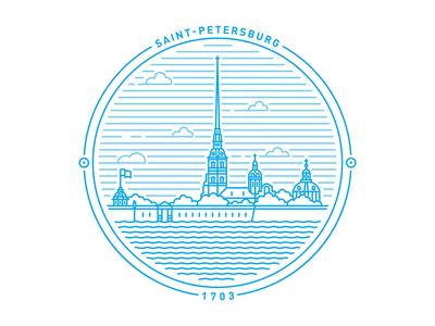 Saint Petersburg badge  banner saintpetersburg symbol stamp logo badge mark crest line circle