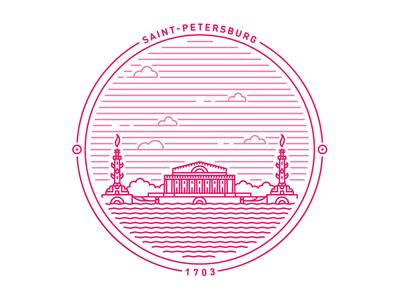 Saint Petersburg badge II  symbol stamp saintpetersburg mark logo line crest circle banner badge