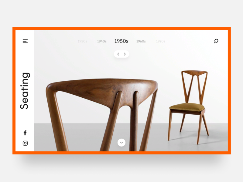 Daily UI #003 / Landing Page figma ui first screen site seating dailyui header vintage furniture dailyui 003 above the fold 1950 chair landing page