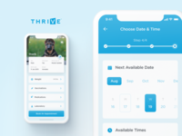 THRIVE Affordable Vet Care Mobile App laboratory medication vaccinations weight times iphone progress steps stepper profile account date appointment pet vet ui ux application app ios