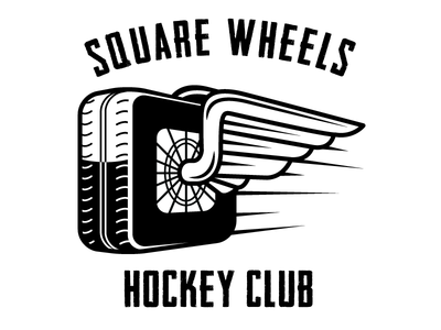 Square Wheels HC rec league square wheels tires wings sports logo hockey