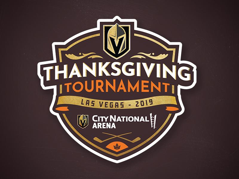 Vegas Golden Knights Thanksgiving Tournament Logo logo designs vegas golden knights youth sports hockey tournament logo design illustration sports