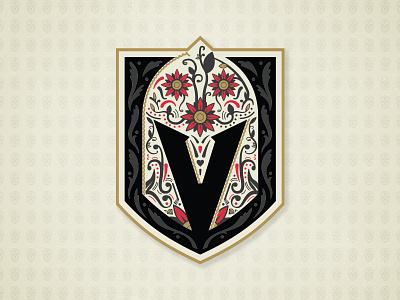 VGK 2019 Dia De Muertos Logo helmet knight sugar skull dia de los muertos dia de muertos golden knights illustration branding matt mcelroy logo sports nhl hockey