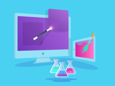 Magic ipad imac illustration aqua marine pink blue purple wand design development web magic