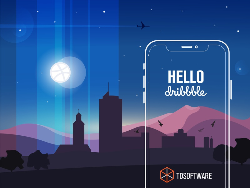 Hello Dribbble! debut flat ui app vector design illustration