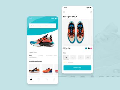Shoe shop app concept