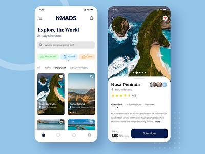 Nomads Travel App Ui Design brand mockup typography flat illustration mobile app uiux ux ui design ui illustration branding app design design
