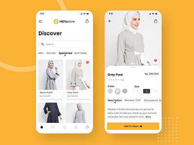 Hefastore Online Shop UI Design uxdesign design ui design brand ux app design ui onlineshop app women illustration branding