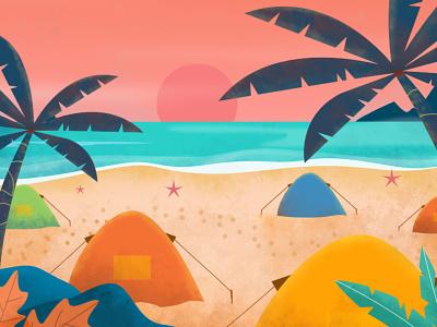 Camping on beach flat minimal flat illustration branding ui design uxdesign ui design app design illustration