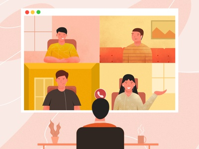 Online Meeting Illustration vector illustration vector meeting online meeting flat illustration branding app design illustration