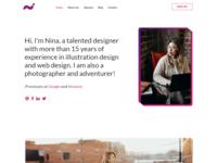 Nina - One page resume website - Adobe Xd Free Download