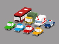 Low-poly 3D Cars