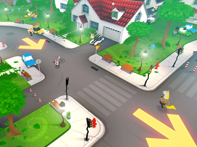 CATDAMMIT! Downtown catdammit indie game screenshot free town downtown green trees house street animals