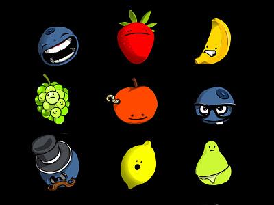 Owocki fruits colors vagetables food banana blueberry strawberry apple pear lemon