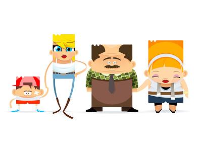 Ticket Family ticket railways characters family cartoon