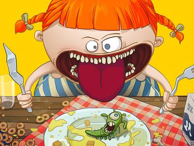 Crazy Girl table slug girl food crazy animation cartoon