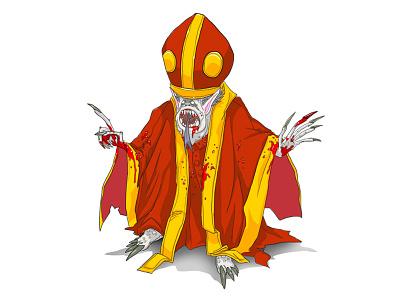 Bishop zombie dead illustration cartoon evil vampire bishop