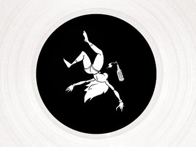 GIRL | vinyl sticker music illustration cartoon flying nude white black alcohol girl sticker vinyl