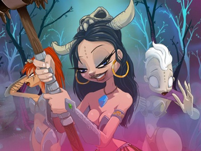 Amazons in a filthy Filthy Forest :) hammer04 game ios amazon girl sexy skull forest creepy horror indie apple