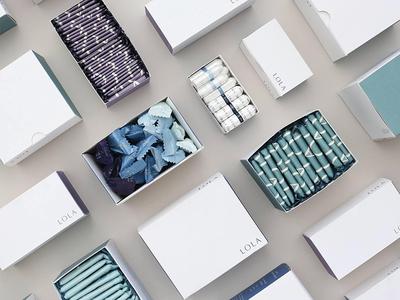 LOLA feminine care tampons pads liners packaging