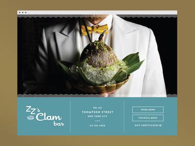 ZZ CLAM pattern logo restaurant landing page website