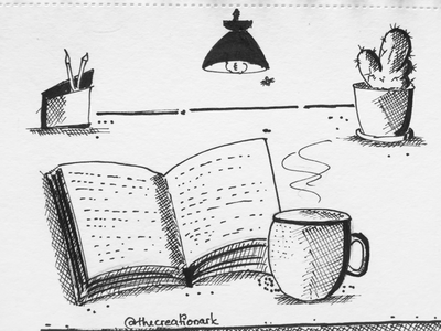 StayHome drawing sketch art illustration reading books lamp coffee indoor desk fineline ink covid