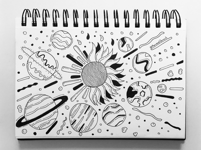 Sun, Moon and their Stars fineline pencilart blackandwhite drawing sketch doodleart doodle flare asteroids planets space universe solar