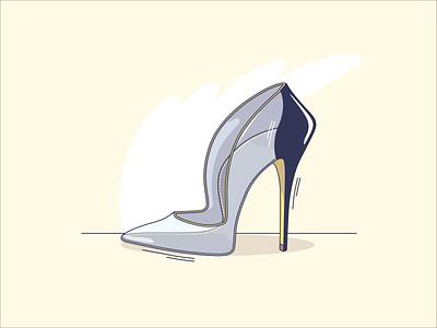 Life of one shoe design line lineart blue yellow shoe design vector illustration shoe