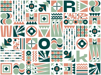 Pattern lineart lines orange vector illustration branding green pattern work