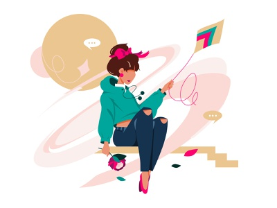 Decision message pink wind find stairs green kite graphic design yelllow illustration line life vector 2020 lineart flower girl