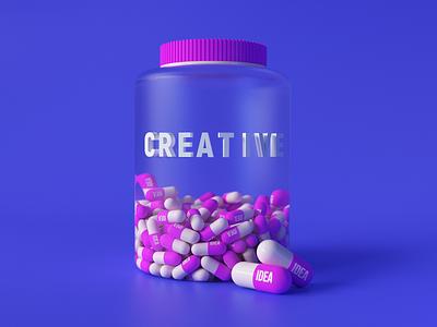 Idea pills 2021 art shell brand lifestyle life white game illustration design 3d medicament medicine creative pink blue pill cinema4d idea