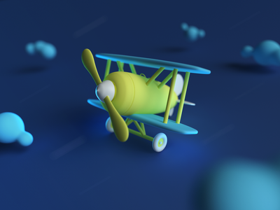 Plane rain wind toy render plan cloud sky traveling 2021 tour travel journey little blue illustration 3d cinema4d cinema plane trip