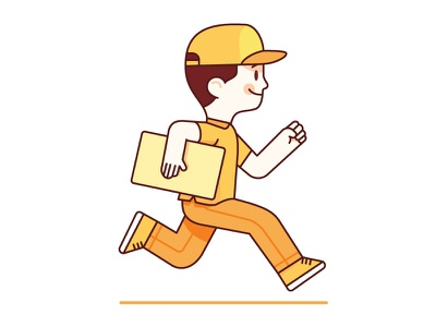 Delivery Boy shipping logistic run boy business startup happy illustration box illustrator vector delivery