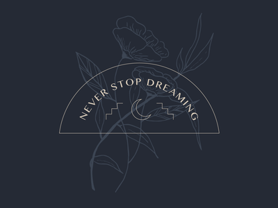 Never Stop Dreaming flowers poppies hand crafted moon handdrawn illustration floral handdrawn dreamy dreams