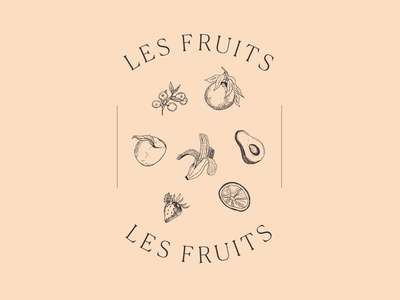 Les Fruits healthy veggies farmers market fruit illustration fruit drawing fruit leaves typography floral flowers drawing delicate handdrawn branding illustration