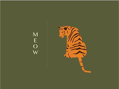 Meow wild animal branding drawing illustration tiger