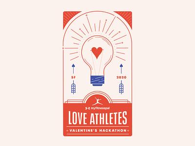 Love Athletes hackathon branding illustration tarot card art deco