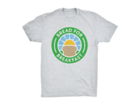 Bread For Breakfast Logo on Heather Grey T-Shirt