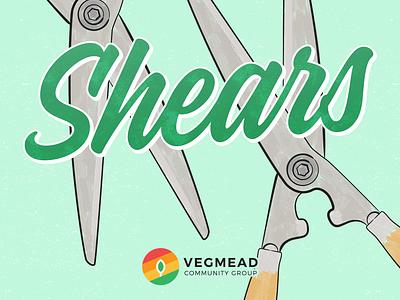 Vegmead Tool Appeal - Shears brush shears gardening illustration vector community design