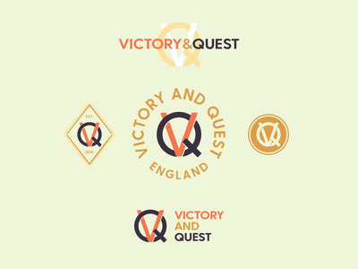Victory & Quest logomark monogram circle badge logo branding design