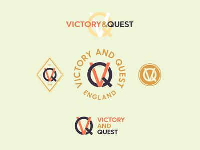 Victory & Quest logomark monogram circle badge logo branding design