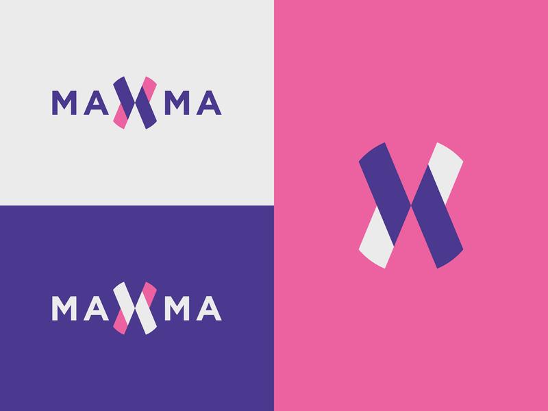 Maxma Logo modern symbol minimal lettermark geometric colour color abstract logotype identity brand identity mark design branding logo