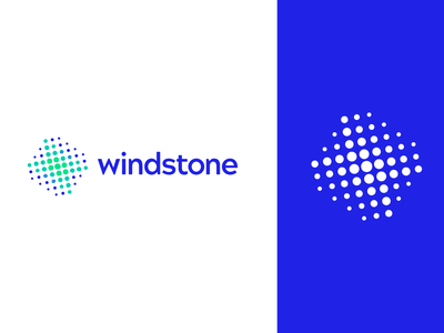 Windstone brand design windmill grid logo minimalism brand identity symbol dots abstract mark identity branding vector logo design