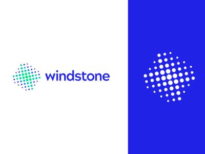 Windstone brand design windmill grid logo minimalism brand identity symbol dots abstract mark identity branding vector logo design