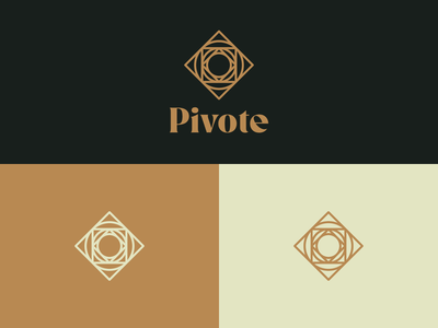 Pivote Logo compass dark background minimalist minimal gold icon identity brand identity symbol abstract mark square circle branding vector logo design
