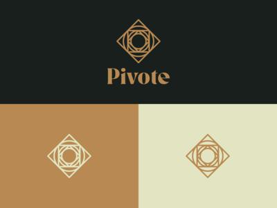 Pivote Logo compass dark background minimalist minimal gold icon identity brand identity symbol abstract mark square circle branding vector logo design