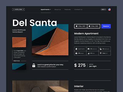 Del Santa - Rental & Booking of houses desktop smart homepage website figma typography apartment modern house rental booking dark theme dark ui black ux ui